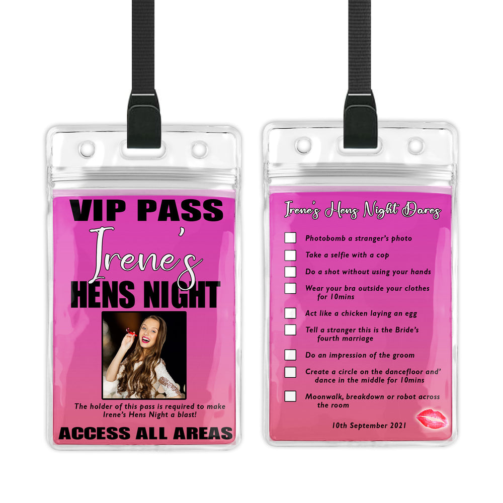 Irene - Hens Bachelorette Night Dares VIP Lanyard Invitation