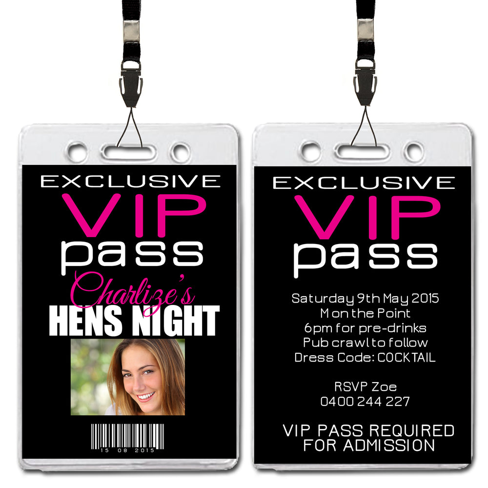 Charlize - Hens Bachelorette Night VIP Lanyard Invitation