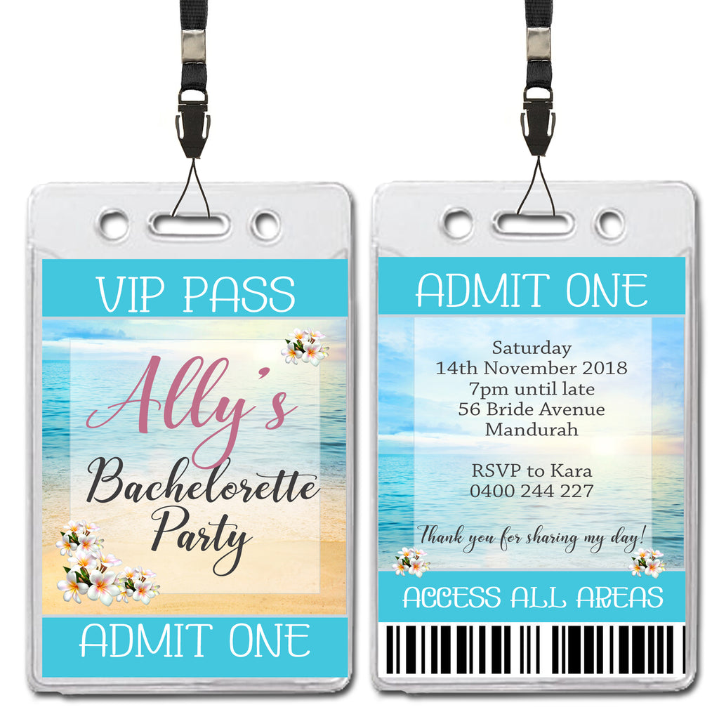 Ally - Beach Themed Hens Bachelorette VIP Lanyard Invitation