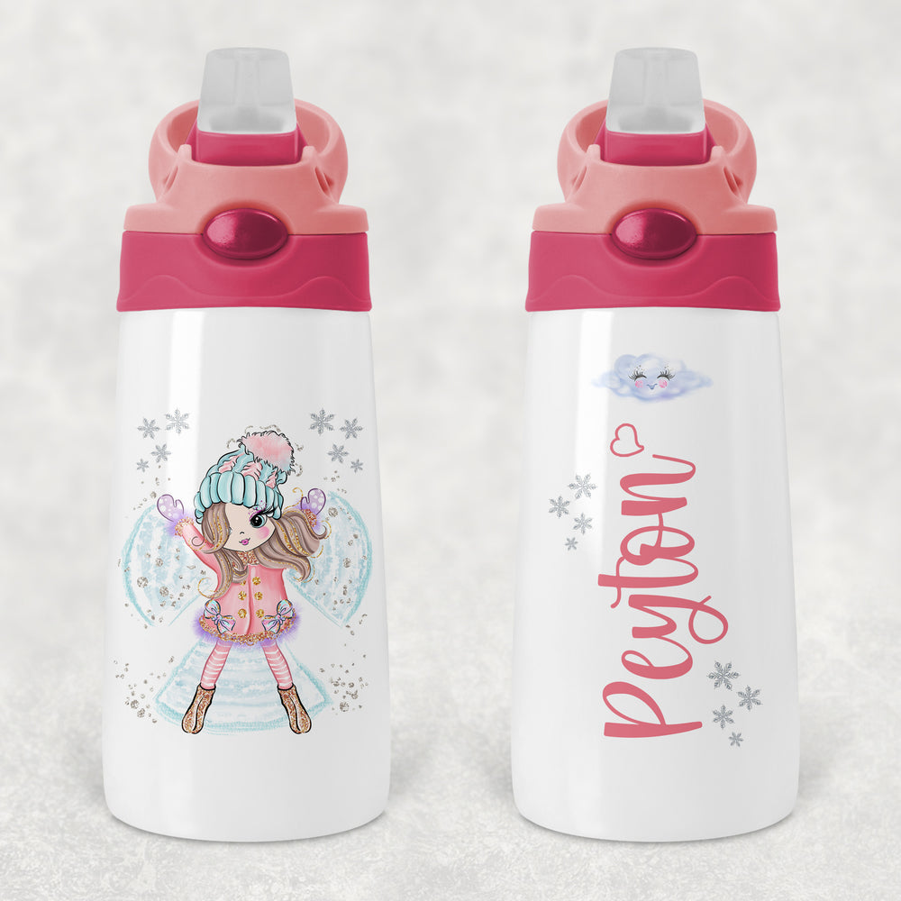 Snow Fairy Personalised Kids Sippy Flip Top Tumbler Bottle with Straw