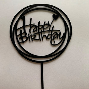 Happy Birthday Round Acrylic Cake Topper with Hearts