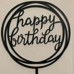 Happy Birthday Round Acrylic Cake Topper