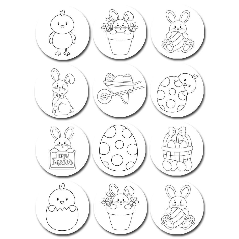 Paint Your Own PYO Colour Color In Easter Edible Cookie or Cupcake Toppers