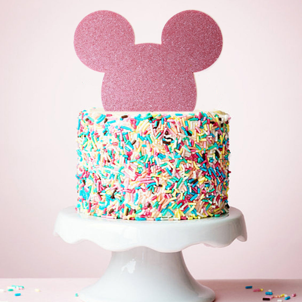 Minnie Mouse Pink Glitter Acrylic Cake Topper