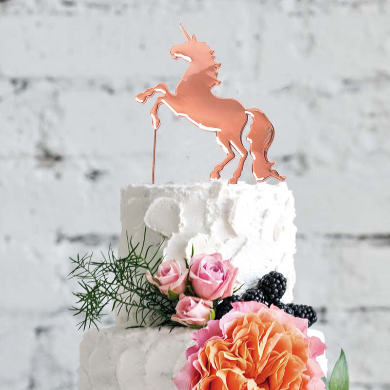 Unicorn Rose Gold Plated Cake Topper