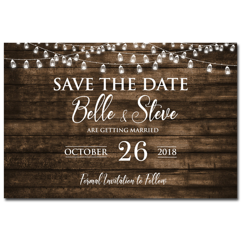 Belle & Steve - Woodgrain Save The Date