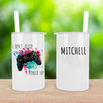 I Don't Sleep I Power Up Personalised Skinny Mini Tumbler with Straw