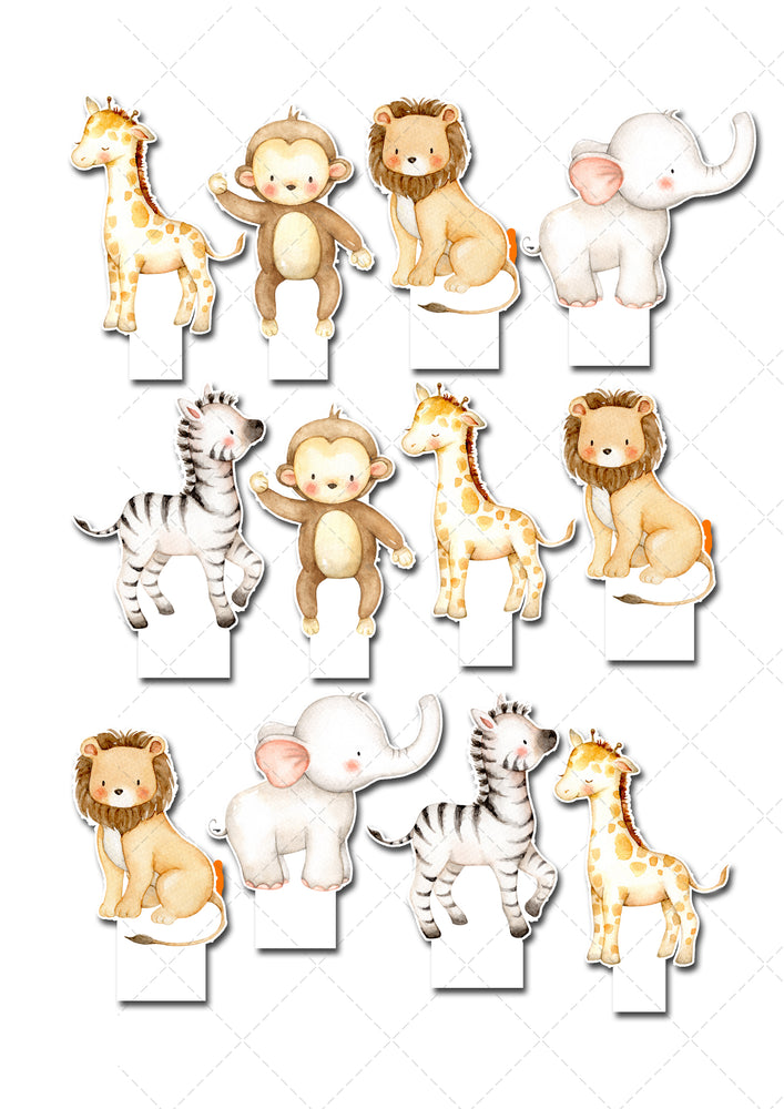 Jungle Animal Safari Stand-Up Edible Wafer Card Pre-Cut Toppers