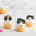 Monster Trucks Stand-Up Edible Pre-cut Wafer Card Toppers
