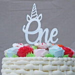 Number One Unicorn Mirror Acrylic Cake Topper