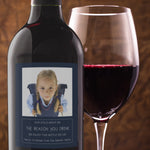 Teacher Gift Wine Bottle Labels with Photo - Set of 4