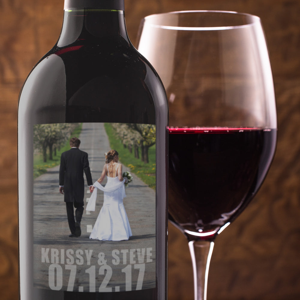 Wedding Engagement Wine Bottle Labels with Photo - Set of 4