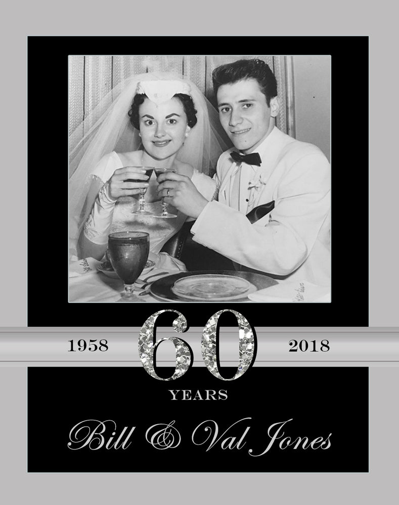 Wedding Anniversary Wine Bottle Labels with Photo - Set of 4