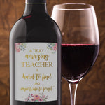 Floral Teacher Christmas Gift Wine Bottle Labels - Set of 4
