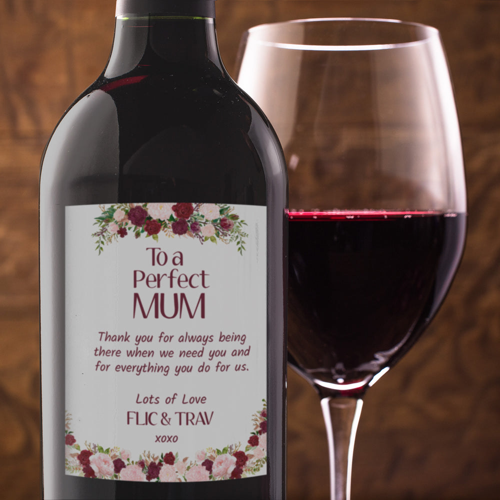 Floral Mothers Day Birthday Wine Bottle Labels - Set of 4