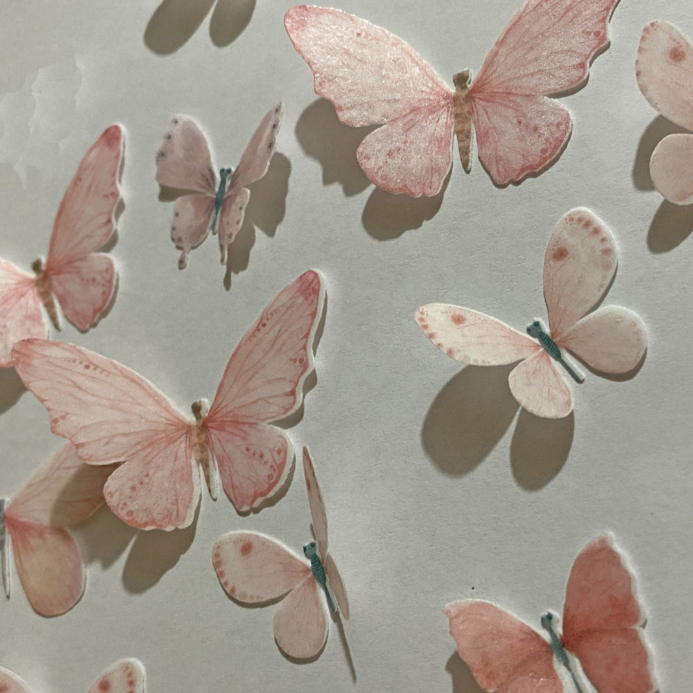 Edible Pre-cut Pale Pink Wafer Paper Butterflies