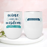 Wine Wisdom Personalised Stainless Steel Stemless Travel Tumbler