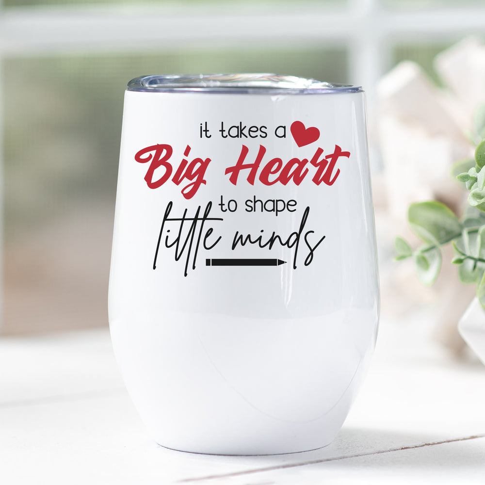 Teacher Gift Big Heart Personalised Stainless Steel Stemless Travel Tumbler