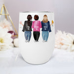 Sisters Best Friends Besties Personalised Stainless Steel Stemless Wine Coffee Travel Tumbler