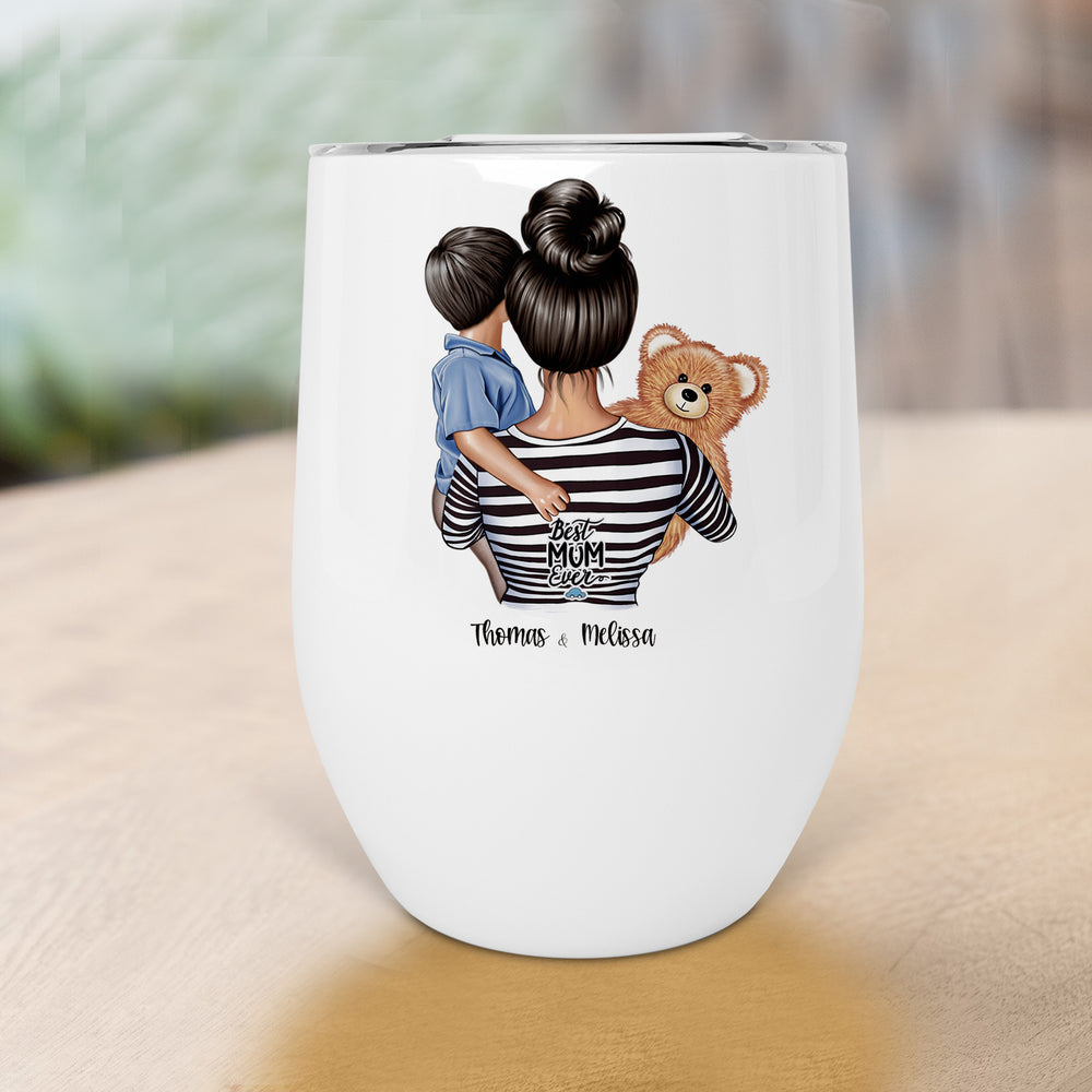 Mother Son Personalised Stainless Steel Stemless Wine Coffee Travel Tumbler