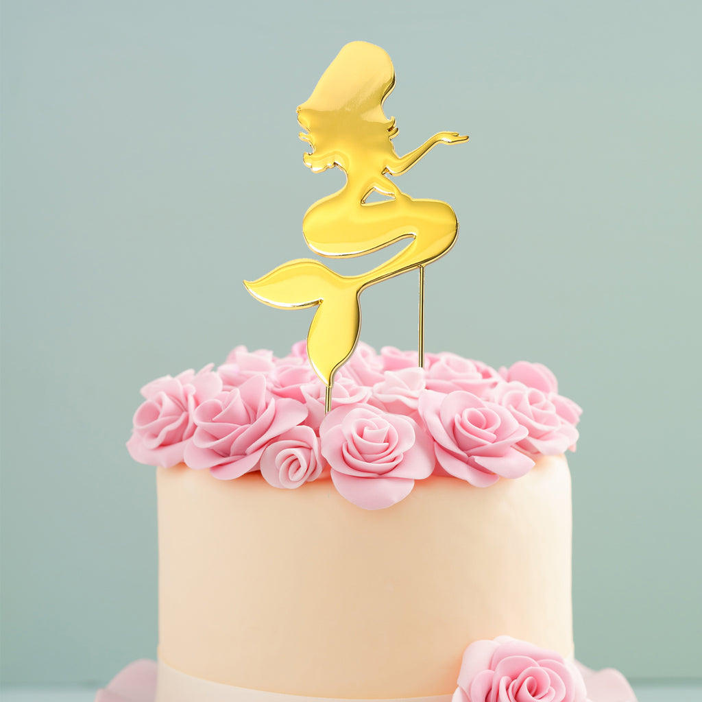 Mermaid Gold Plated Cake Topper