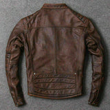 Men Motorcycle Leather Distressed Real Leather Jacket Brown Fashion Biker