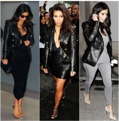 Women's Black Kim Kardashian Genuine Leather Double Breasted Jacket