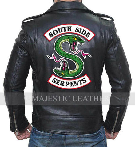 Riverdale Southside Serpents Bande Noir Hommes Authentique Veste Motard Cuir