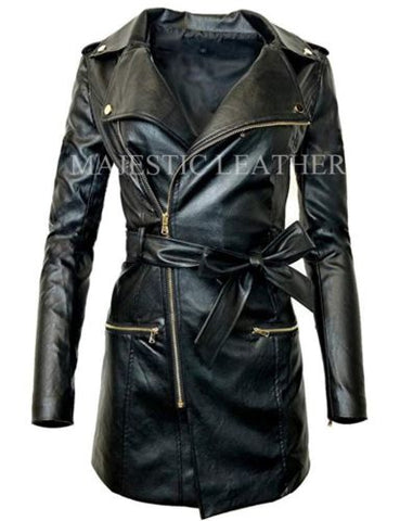 Women's Zip-up Long Jacket Belt Real Leather Trench Coats
