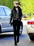 Rosie Huntington Whiteley Black Leather Shearling Jacket For Women