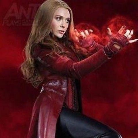 Scarlet-Witch-Elizabeth Olsen's-Wanda Maximoff-Long-Women-Leather-Costume-Jacket-Coat