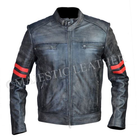 Men's Distressed Black Blooded Stripped Smart Racer Biker Leather Jacket