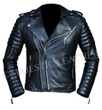 Men's Diamond Quilted Kay Michael Soft Leather Black Slim Fit Biker Jacket-BNWT