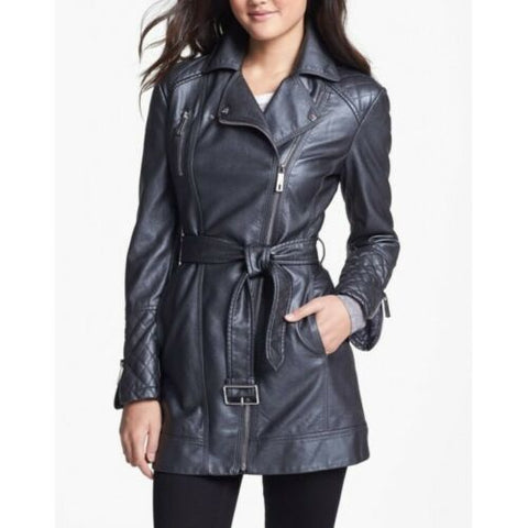 Women's Zip-up Long Asymmetrical Belted Gray Leather Coat