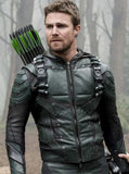 Green Arrow Season 5 Hoodie Leather Jacket With Attached Hood