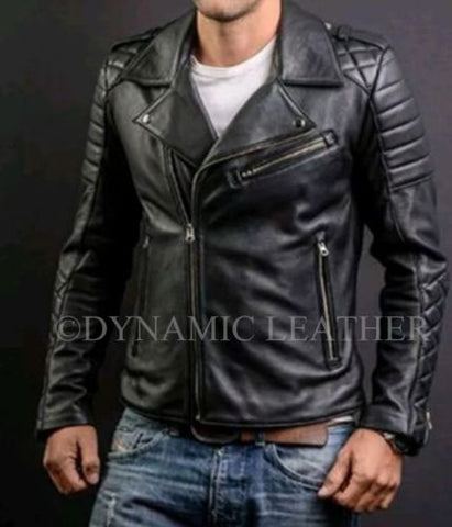 MEN'S FASHION GENUINE LEATHER SLIM FIT QUILTED BLACK LEATHER BIKER JACKET