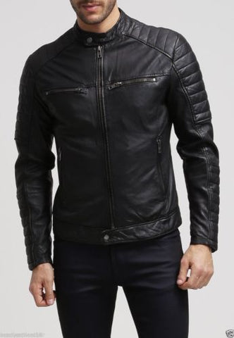 Men's Slim Fit Biker Motorcycle Style Retro Black Leather Jacket