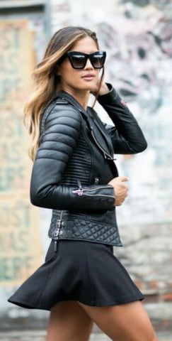 New Women's Motorcycle Soft Genuine Lambskin Leather Slim fit Biker Jacket