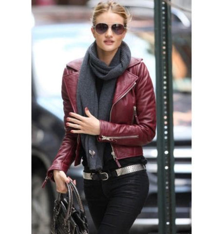 Ladies Women Brando Burgandy Leather Slim Fit Short Body Jacket