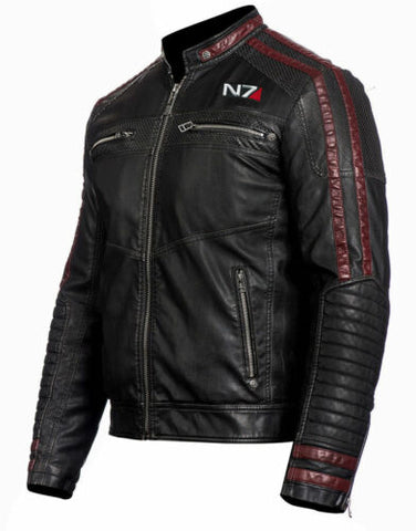 MASS EFFECT 3 - N7 COMMANDER SHEPARD STYLISH MOTORCYCLE LEATHER JACKET