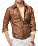 Men Leather Jacket Brown Slim Fit Style Biker Leather Jacket