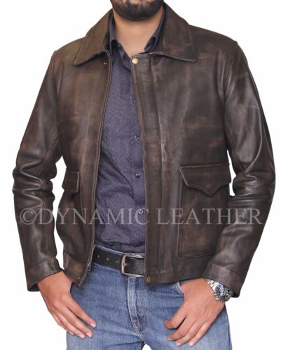 Indiana Jones DISTRESSED BRAUN ECHT Kuhhaut Skin Lederjacke
