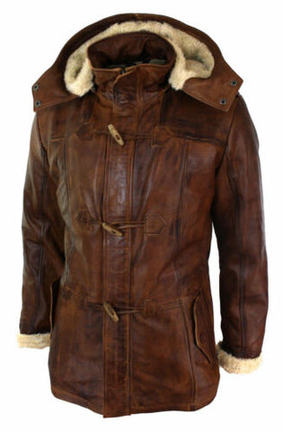 Mens Real Leather Hood Duffle Safari Fur Long 3/4 Brown Tan Winter Jacket