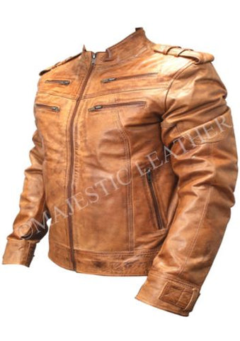 Mens Biker Vintage Motorcycle Distressed Brown Leather Jacket