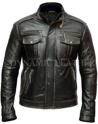 Men's Vintage Rivet Biker Style Motorcycle Cafe Racer Distressed Leather Jacket