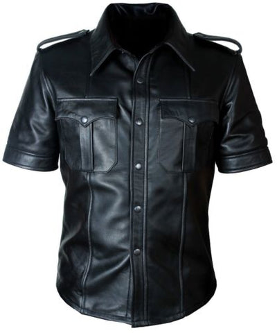 Mens Hot Genuine Real Leather Police Uniform Bluff Gay Shirt
