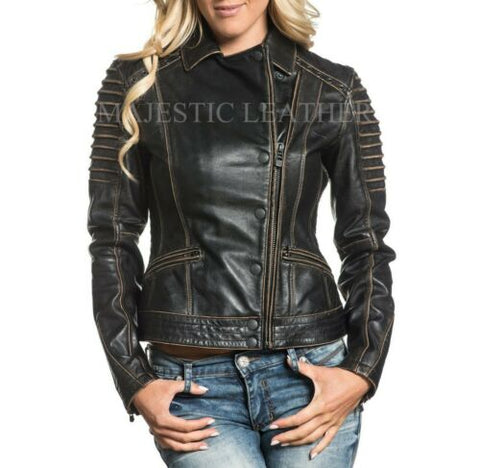 NEW WOMEN'S BLACK VINTAGE LAMB LEATHER MOTO JACKET