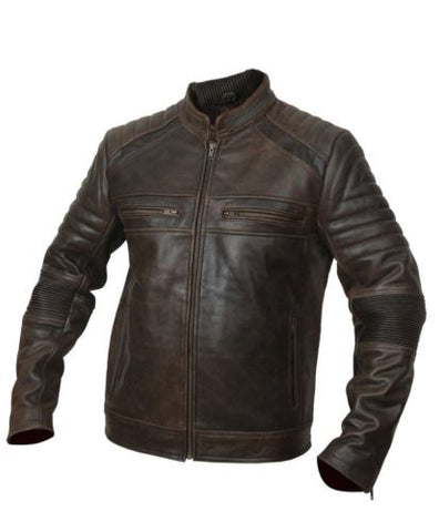 Mens Biker Motorcycle Distressed Brown Leather Jacket-BNWT
