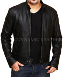 Men's Biker Hunt Black Sheepskin Leather Jacket