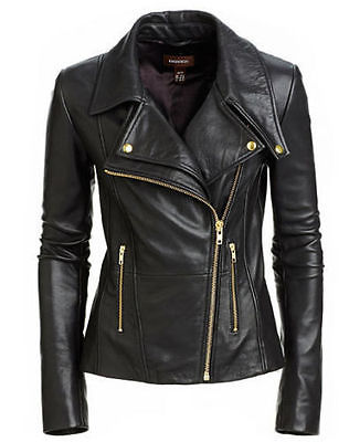 New Women's Black Slim Fit Biker Style Moto Biker Real Leather Jacket